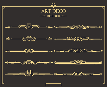Set of Art deco gold calligraphic page dividers. Vector golden flourishes page decoration vignettes. header and border template in style of 1920s for your design. Illustration