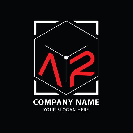 Letter AR logo design template elements. Vector on Black background.
