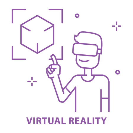 Virtual Reality VR concept use in learning. Simple line vector illustration. VR presentation concept symbol flat design.