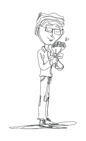 Continuous lines, men standing holding a bouquet of flowers. vector illustration.