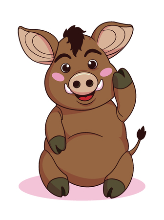 Cute boars or warthog character. Vector illustration with running wild pig