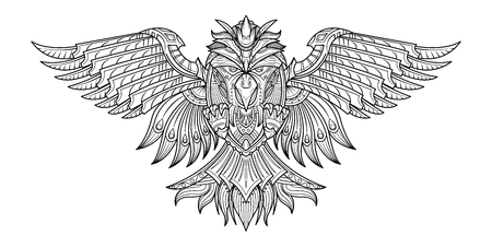Vector hand drawn Birds in my imagination. Black and white art. illustration for coloring book, tattoo, poster, print, t-shirt.