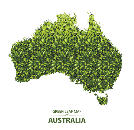 australia map made up of green leaf on white background vector illustration of a forest is conceptual of the global green environmental issues worldwide