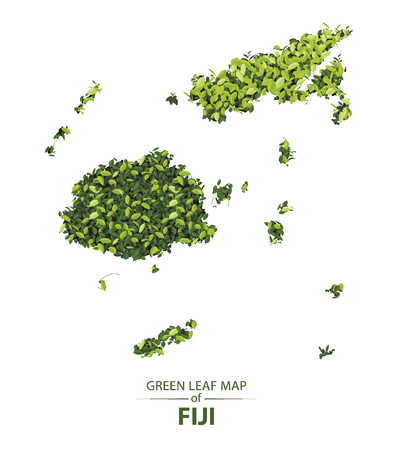 fiji map made up of green leaf on white background vector illustration of a forest is conceptual of the global green environmental issues worldwide Illustration