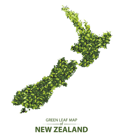 new zealand map made up of green leaf on white background vector illustration of a forest is conceptual of the global green environmental issues worldwide