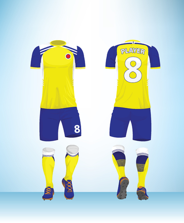 Soccer jersey or football t-shirt mock up. Front and back view yellow, blue uniform. Vector Illustration. Vectores