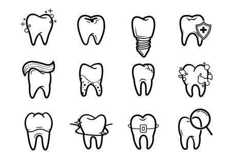 Dentistry, orthodontics outline line icons set.Vector of dental clinic services
