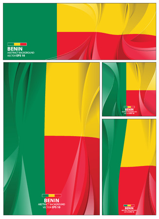 Benin flag abstract colors background. Collection banner design. brochure vector illustration.