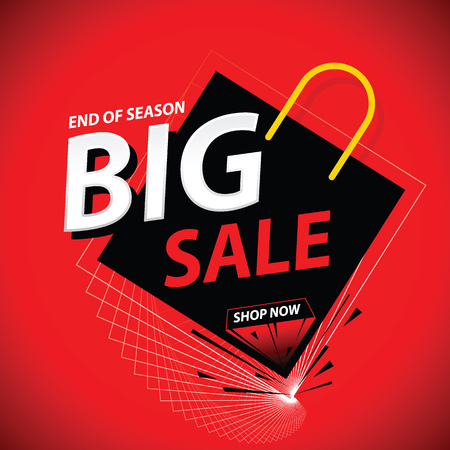 Big sale promo theme vector illustration. Commercial discount event banner. Ad sign.