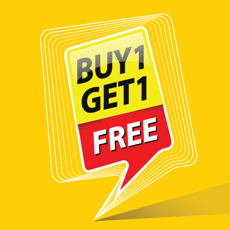 buy one get free sale promo. sales poster. Commercial discount event banner. Yellow background vector illustration
