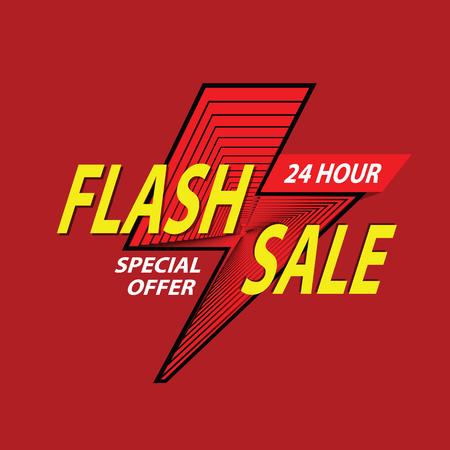 24 hour Flash Sale banner. special offer, clearance. Vector illustration. Illustration