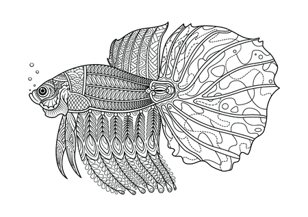 Fighting fish hand drawn coloring page. Doodle art for adult and children coloring book. vector illustration. Illustration