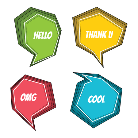 Collection of colorful set speech bubbles and dialog balloons. Vector illustration.