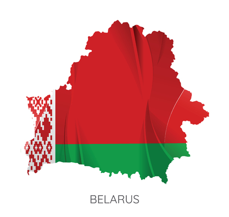 Map Of Belarus With Flag As Texture Isolated On White Background. Vector Illustration