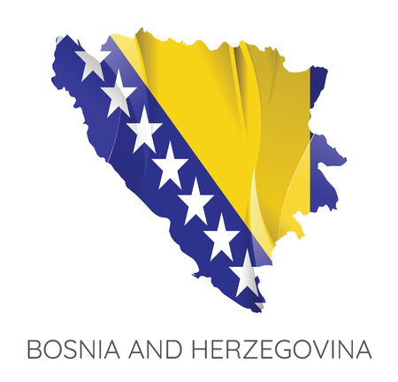Map Of Bosnia and Herzegovina With Flag As Texture Isolated On White Background. Vector Illustration