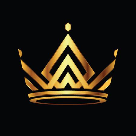 Nowoczesna korona Logo Royal King Queen streszczenie Logo. Ilustracja wektorowa. Logo