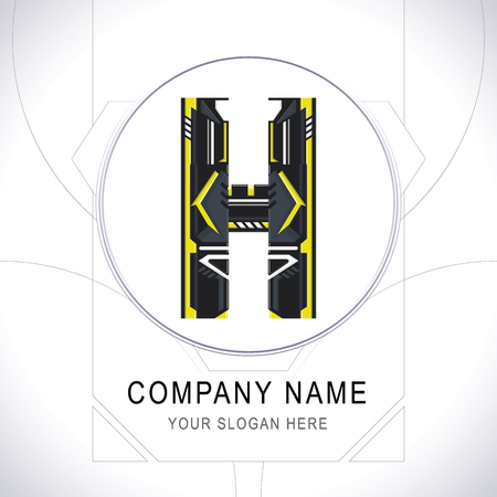 Letter H Gamer Community Black Logo. Creative Yellow Line Alphabet H Symbol Icon Design. Modern Sports Typographic. Vector illustration.