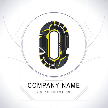 Letter O Gamer Community Black Logo. Creative Yellow Line Alphabet O Symbol Icon Design. Modern Sports Typographic. Vector illustration.