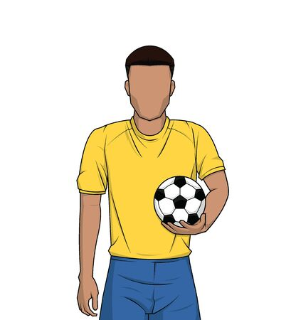 mężczyzna trzyma piłkarz na białym tle. sportowiec stojący ilustracji wektorowych.