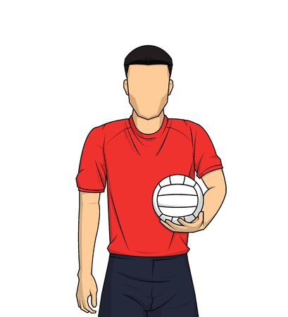 man holding volleyball player on white background. sportsman standing vector illustration.