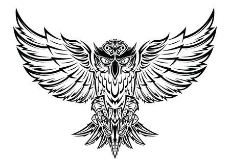 Latająca sowa czarna sylwetka rysunek ręka tatuaż projekt. ilustracji wektorowych. Ilustracje wektorowe