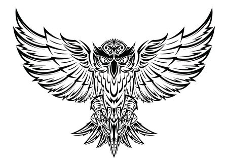 Siluetta nera del gufo di volo Disegno del tatuaggio dell'illustrazione della mano. illustrazione vettoriale. Vettoriali