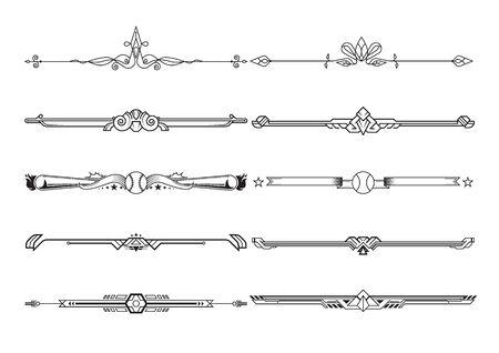 Set di elementi decorativi, bordo e cornice regole pagina. illustrazione vettoriale Vettoriali