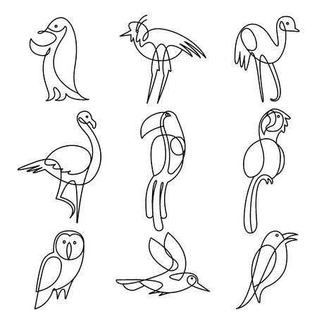 Birds continuous line drawing elements set isolated on white background for logo or decorative element. tukan, parrot, owl, flamingo, penguin, seagull. Vector illustration.