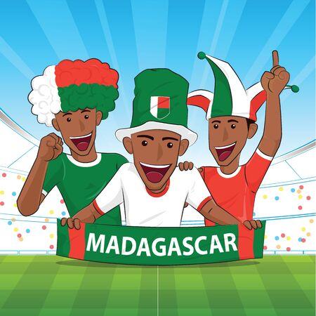 Madagascar Flag soocer player. Cheer football support Vector illustration.