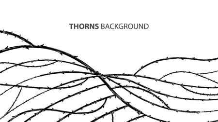 Blackthorn branches with thorns stylish endless background. Horror style horrible. Vector illustration.