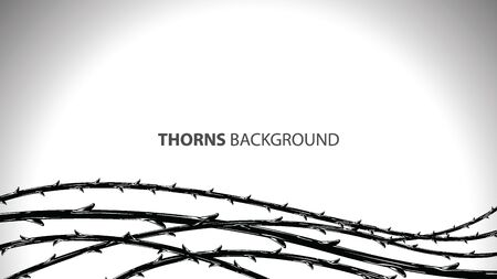 Blackthorn branches with thorns stylish endless background. Horror style horrible. Vector illustration. Vektorové ilustrace