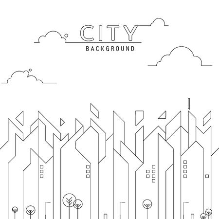 thin line city landscape. Simple architecture urban city with high skyscrapers. vector illustration.