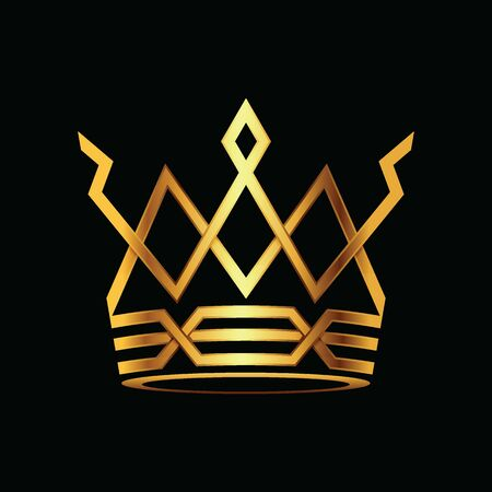Modern golden crown. royal king queen abstract luxury gold. Vector illustration.