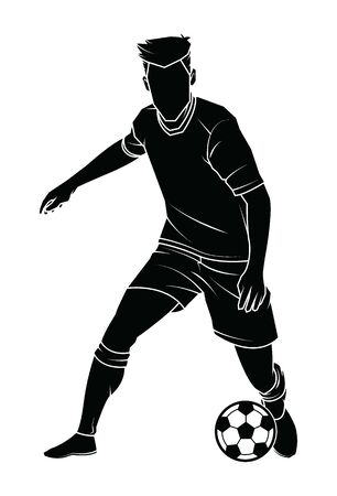 Football (soccer) player silhouette with ball on isolated. Vector illustration.