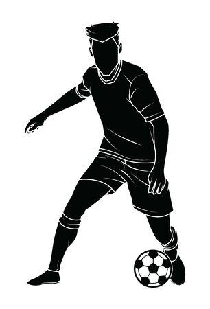 Siluetta del giocatore di calcio (calcio) con la palla isolata. Illustrazione vettoriale.