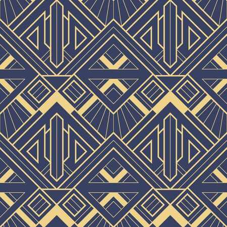 Vector modern geometric tiles pattern. golden lined shape. Abstract art deco seamless luxury on blue background.