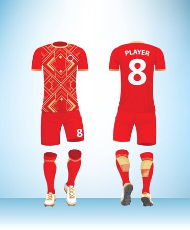 Soccer jersey or football t-shirt mock up. Front and back view red gold color uniform. Vector Illustration.