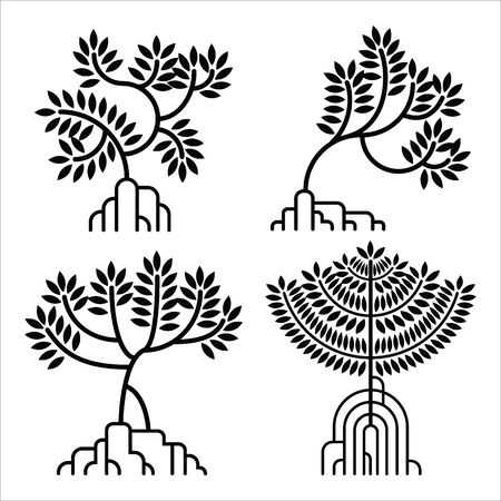 mangrove tree silhouette icon set. vector illustration.