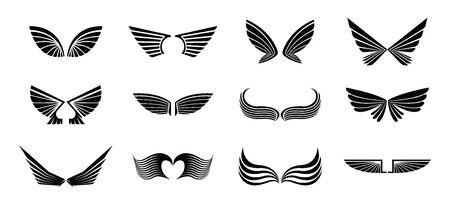Set of different vector wings isolated on white background. black wing icons. logo template illustration.