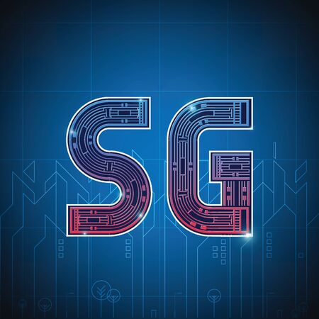 The inscription 5G on the background of the city. Global network high speed innovation connection data rate technology vector illustration.