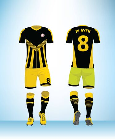 Soccer jersey or football t-shirt mock up. Front and back view black yellow uniform. Vector Illustration. 일러스트