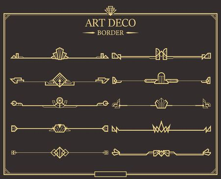 Set of Art deco gold calligraphic page dividers. Vector golden flourishes page decoration vignettes. header and border template in style of 1920s for your design. 일러스트