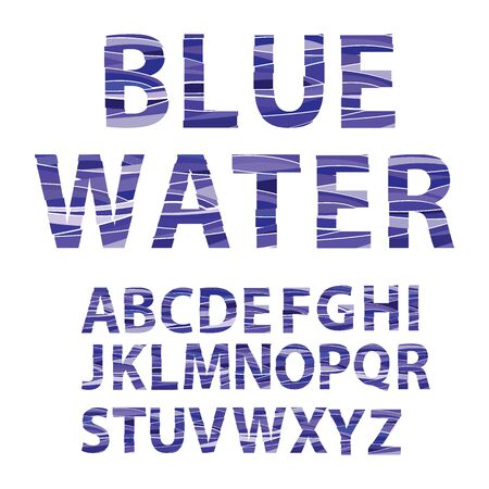 Blue Water alphabet. Graphic Style Font. vector design template elements.