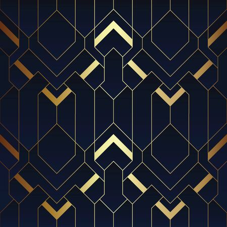 Vector modern geometric tiles pattern. luxury dark blue with gold shape. Abstract art deco seamless background.