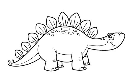 Cute cartoon dinosaur stegosaurus character. Coloring book and education. Vector illustration. 일러스트