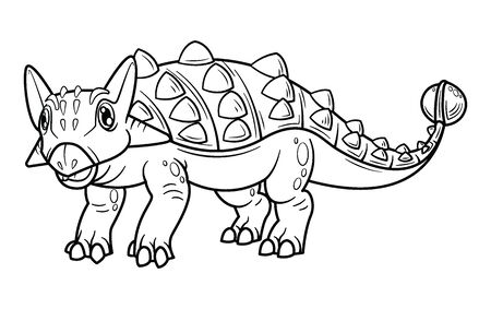 Cute cartoon dinosaur ankylosaurus character. Coloring book and education. Vector illustration.