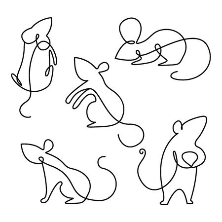 Rat continuous line drawing elements set isolated on white background for logo or decorative element. Vector illustration of various insect forms in trendy outline style.