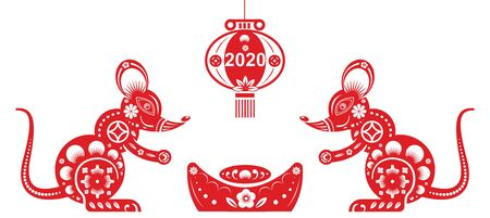 Chinese Zodiac Sign Year of Rat, Red paper cut, Happy Chinese New Year 2020. Vector illustration.