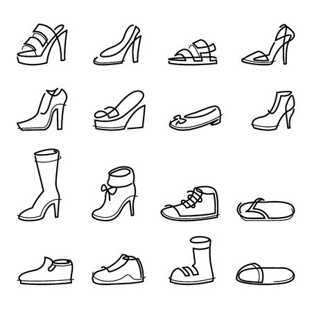 Vector illustration of Set hand drawn graphic Men and women Footwear, shoes. Casual and sport style. Continuous line style Design isolated object.