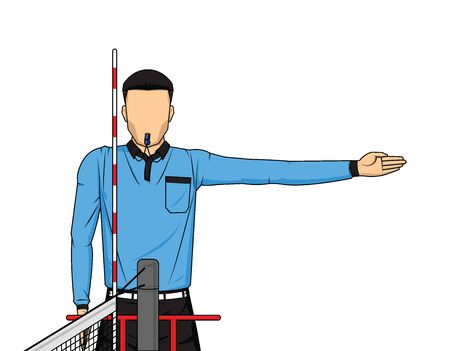 Volleyball referee gives sign who score the point action on white background. Vector illustration Illusztráció
